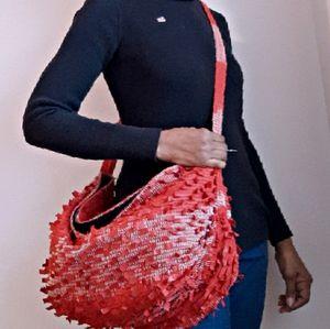 Boho Handmade Artisan Red Leather & Cotton Bag
